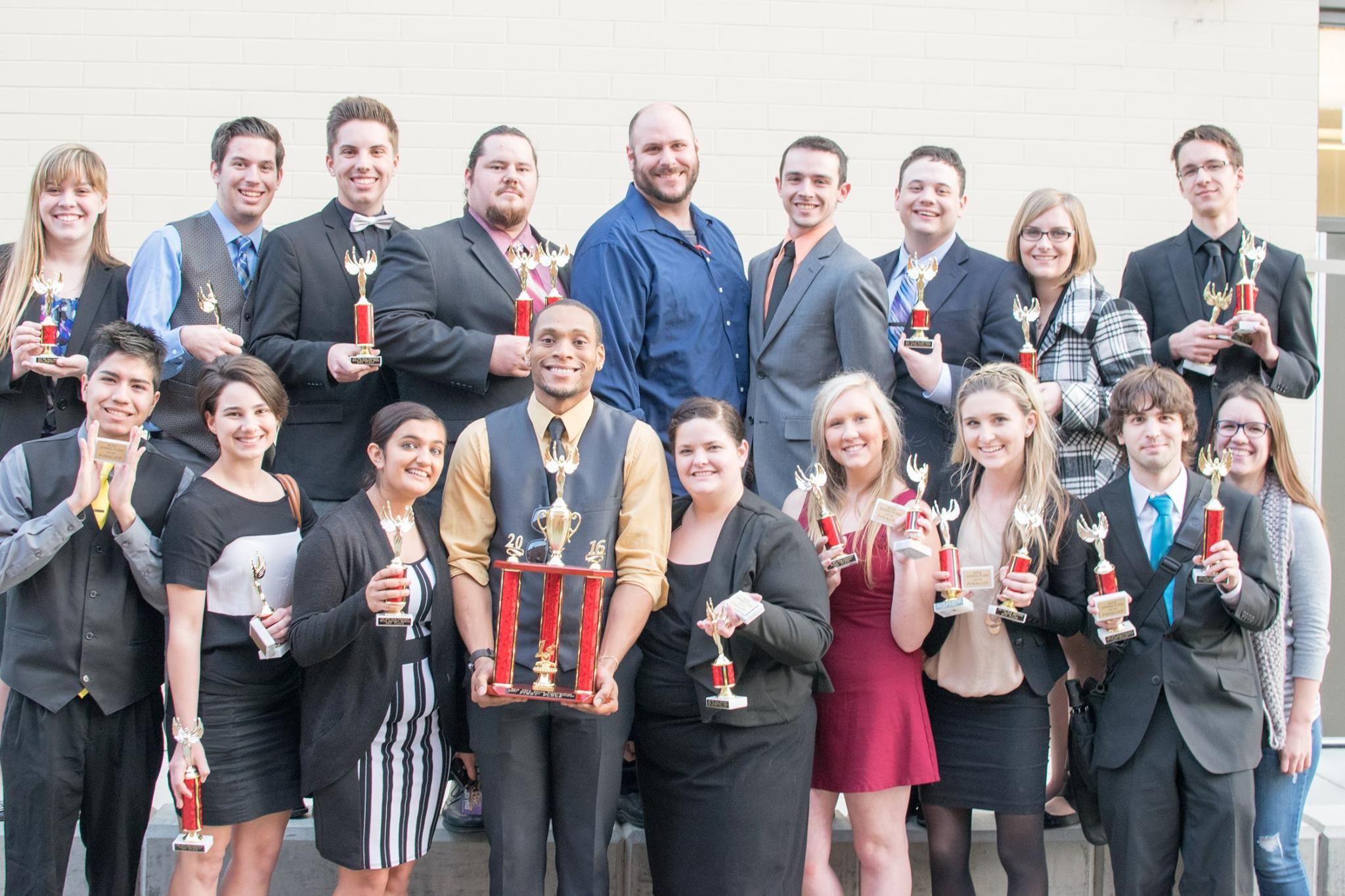 MJC Forensics Team Outside Founder Hall with Awards